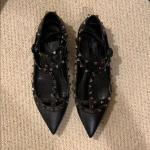 Valentino Rockstud All-Black Leather Flats